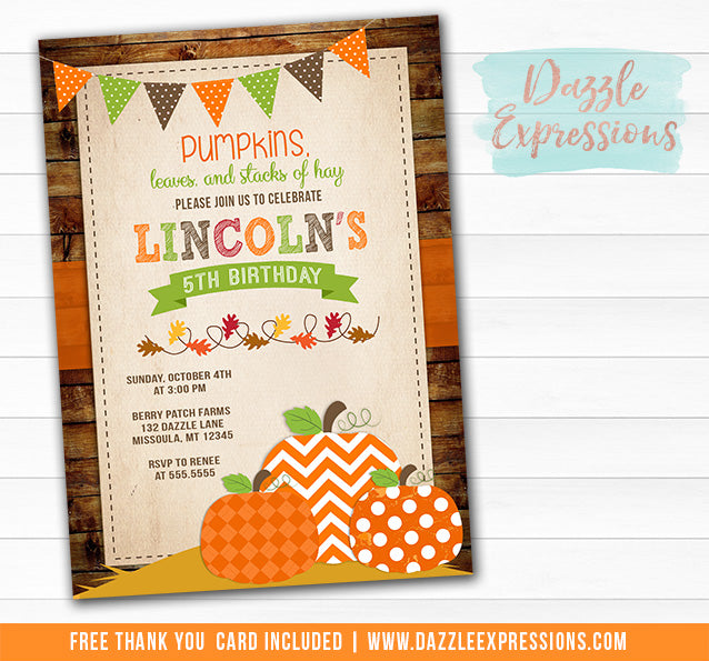 Pumpkin Patch Birthday Invitation 1 - FREE thank you card included