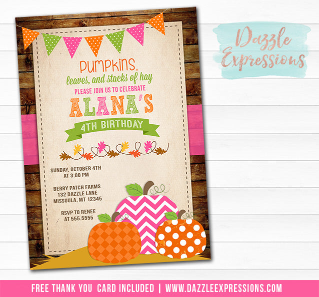 Pumpkin Patch Birthday Invitation 3 - FREE thank you card included