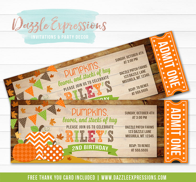 Pumpkin Patch Ticket Invitation 1 - FREE thank you card included