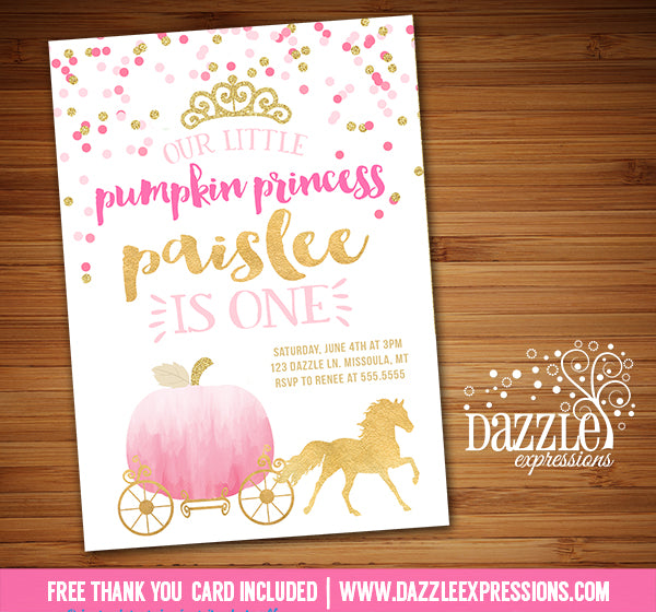 Pumpkin Princess Invitation 1 - FREE thank you card included