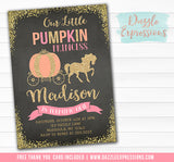 Pumpkin Princess Chalkboard Invitation - FREE thank you card