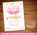 Pumpkin Watercolor Invitation 1 - FREE thank you card included