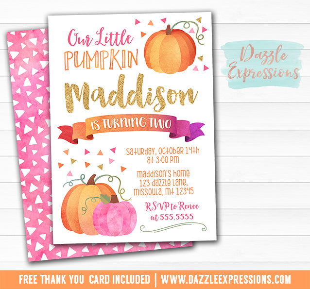 Pumpkin Watercolor Invitation 3 - FREE thank you card included