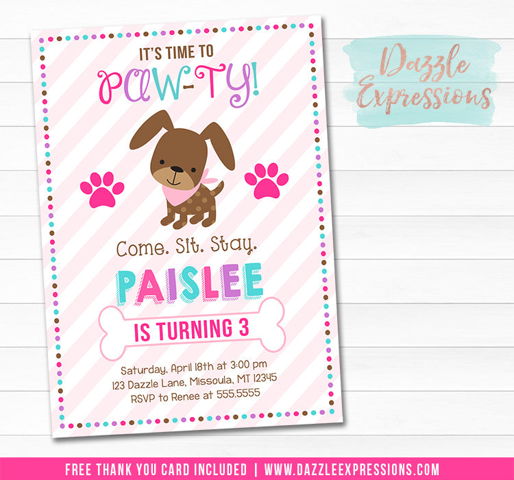 Puppy Invitation 4 - FREE thank you card