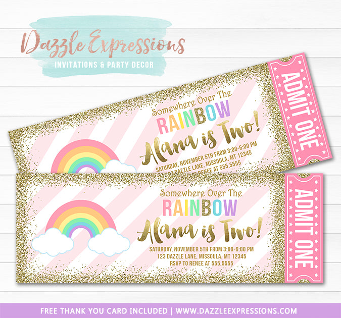 Rainbow Glitter Ticket Invitation - FREE thank you card included