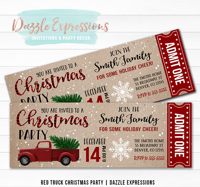 Red Truck Christmas Party Ticket Invitation