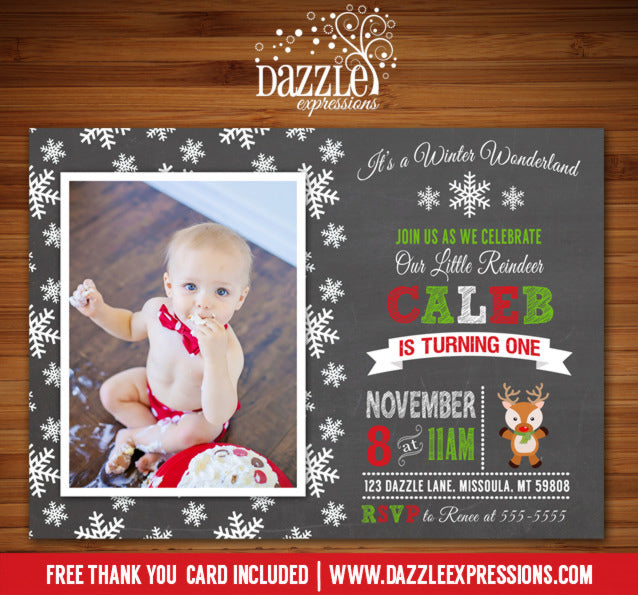 Reindeer Chalkboard Birthday Invitation - FREE thank you card included