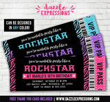 Glitter Zebra Rockstar Ticket Invitations - FREE thank you card included