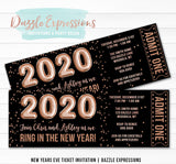 Rose Gold Foil Balloons New Years Eve Ticket Invitation