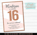Rose Gold Glitter Birthday Invitation - FREE thank you card