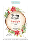 Rustic Christmas Woodland Baby Shower Invitation - FREE thank you card
