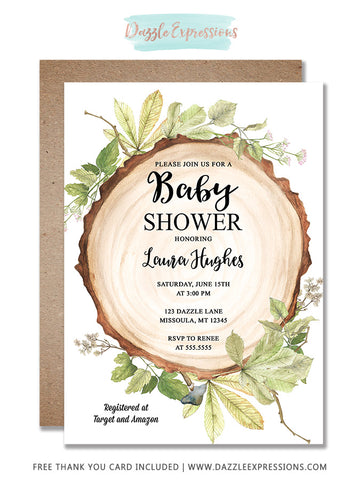 Rustic Woodland Baby Shower Invitation - FREE thank you card