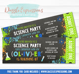 Science Party Chalkboard Ticket Invitation - FREE thank you card