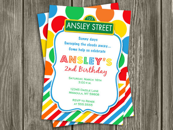 Colorful Street Sign Birthday Invitation 1 - Thank You Card included