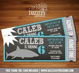 Shark Chalkboard Ticket Invitation - FREE thank you card included