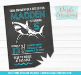 Shark Chalkboard Birthday Invitation 2 - FREE thank you card