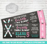 Skiing Chalkboard Ticket Invitation 2 - FREE thank you card included