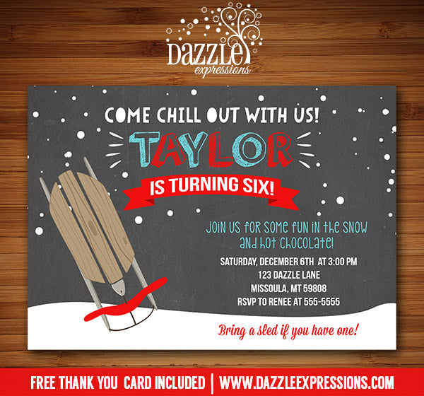 Sledding Chalkboard Invitation 1 - FREE thank you card included