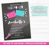 Sleepover Chalkboard Invitation 3 - FREE thank you card included