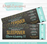 Sleepover Chalkboard Ticket Invitation 6 - FREE thank you card