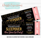 Sleepover New Years Eve Ticket Invitation