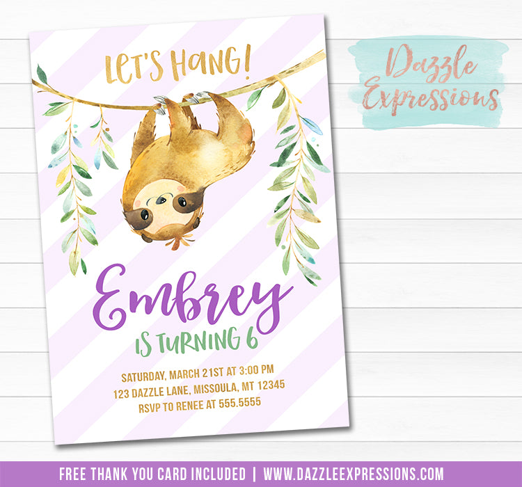 Sloth Invitation 1 - FREE thank You Card