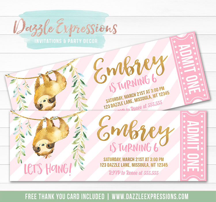 Sloth Ticket Invitation 1 - FREE thank you card