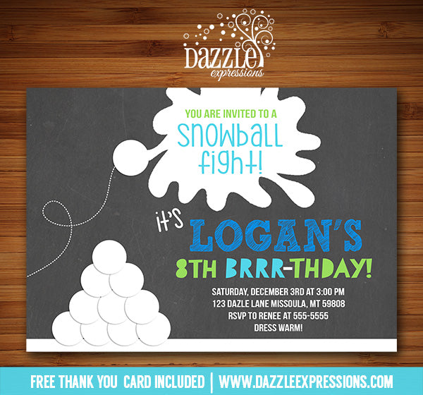 Snowball Fight Chalkboard Invitation - FREE thank you card included