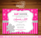 Snowflake Baby Shower Invitation 1 - FREE thank you card included