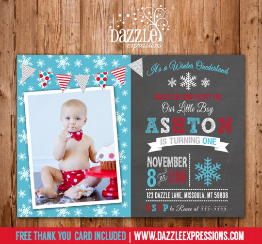 Winter Snowflake Chalkboard Invitation 2 - FREE thank you card included