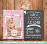 Winter Snowflake Chalkboard Invitation 1 - FREE thank you card included