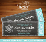 Snowflake Glitter Chalkboard Ticket Invitation 1 - FREE thank you card included