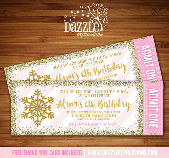 Winter Glitter Ticket Invitation 4 - FREE thank you card included