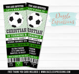 Soccer Ticket Birthday Invitation - FREE thank you card included