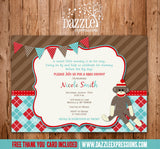 Sock Monkey Baby Shower Invitation - Thank You Card Included