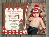 Sock Monkey Birthday Invitation 3 - FREE thank you card included