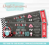 Sock Hop Chalkboard Ticket Invitation 2 - FREE thank you card