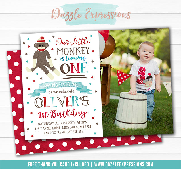 Sock Monkey Watercolor Invitation 2 - FREE thank you card