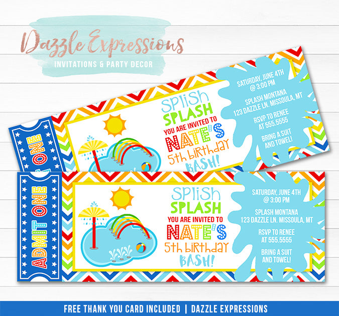 Pool Party Splash Pad Ticket Invitation - FREE thank you card