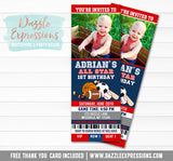 Sports Ticket Birthday Invitation 3 - FREE thank you card included