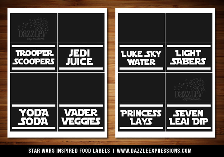 Printable Star Jedi Food Labels