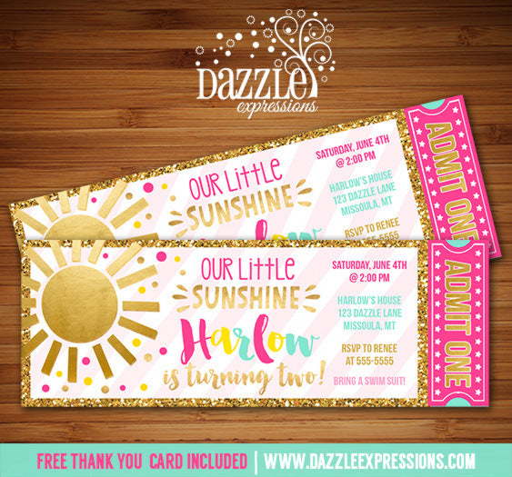 Sunshine Ticket Birthday Invitations - FREE thank you card