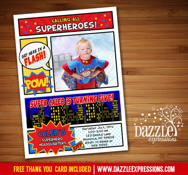 Superhero Comic Birthday Invitation 2 - FREE thank you card included