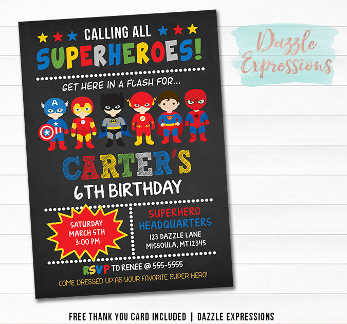 Superhero Chalkboard Invitation - FREE Thank You Card Included