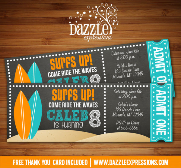 Surf Chalkboard Ticket Invitation - FREE thank you card included