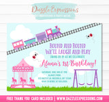 Carousel Park and Train Invitation 1 - FREE thank you card included