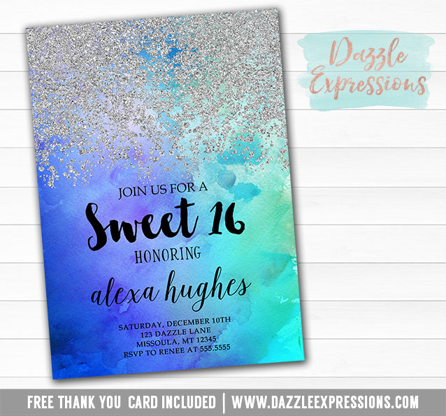 Ombre Watercolor Invitation 2 - FREE thank you card