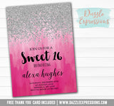 Ombre Watercolor Invitation 5 - FREE thank you card