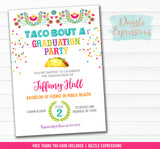 Taco Bout a Graduation Party Invitation - FREE thank you card