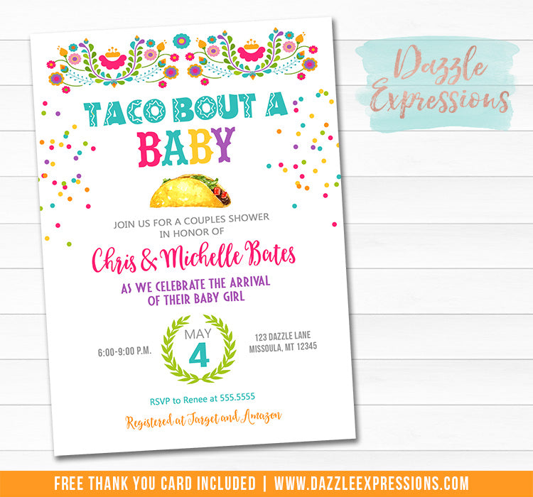 Taco Bout a Baby Shower Invitation - FREE thank you card